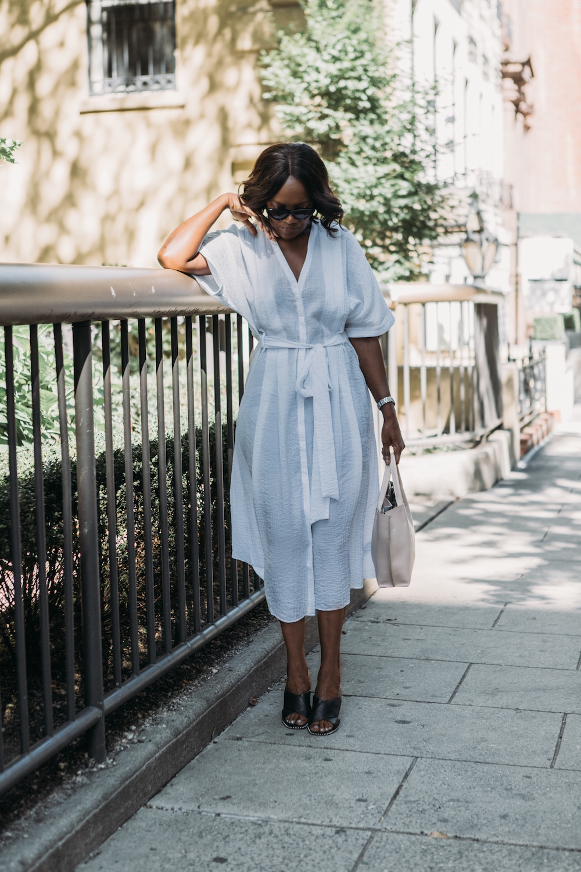 Mules, White dress,