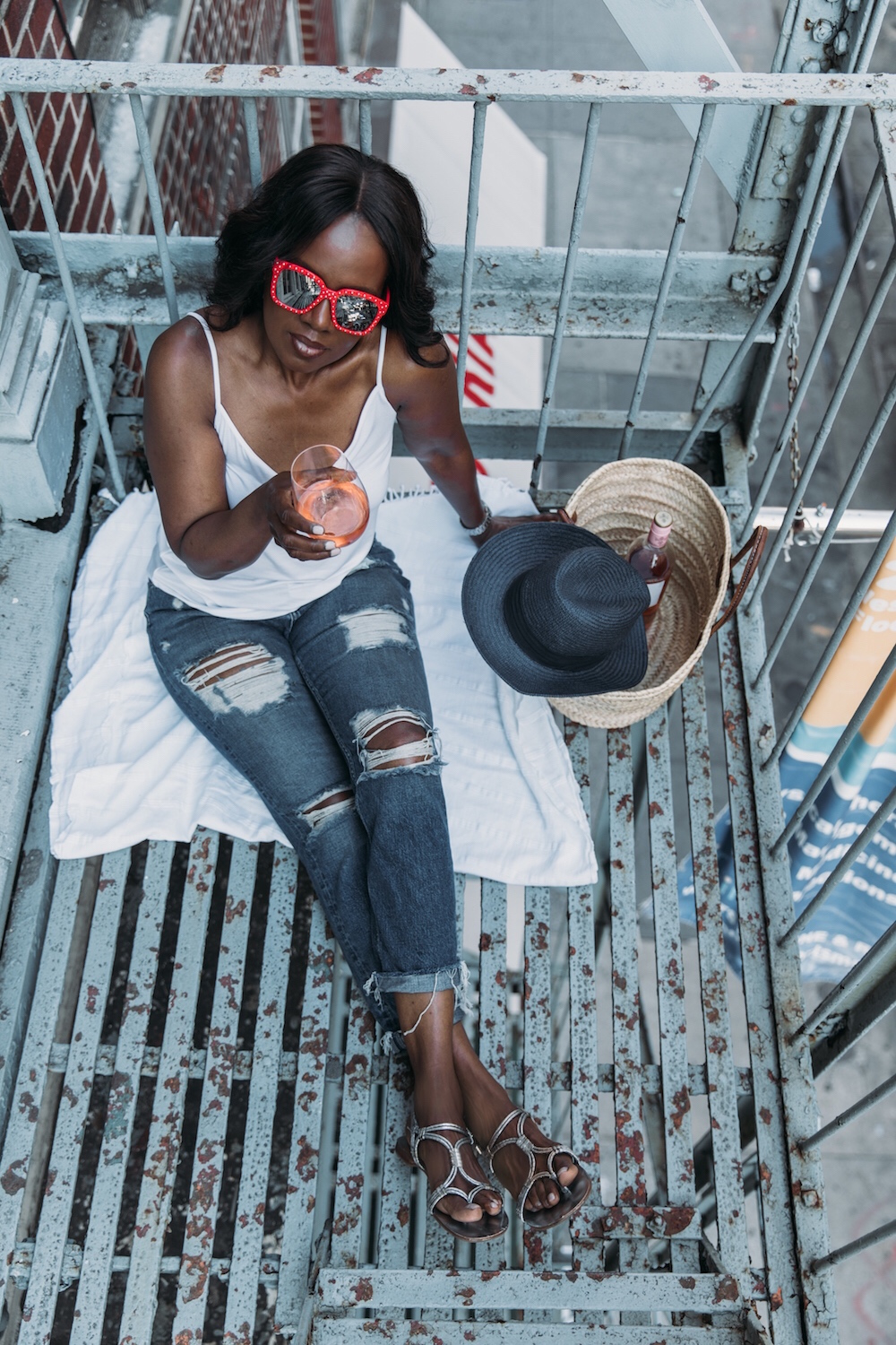 Fire escapes, July 4th 2018, Red Sunnies, Summer in NYC, Picnics